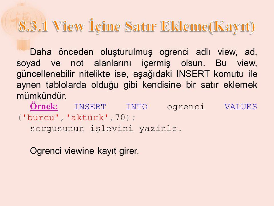 8.3.1 View İçine Satır Ekleme(Kayıt)