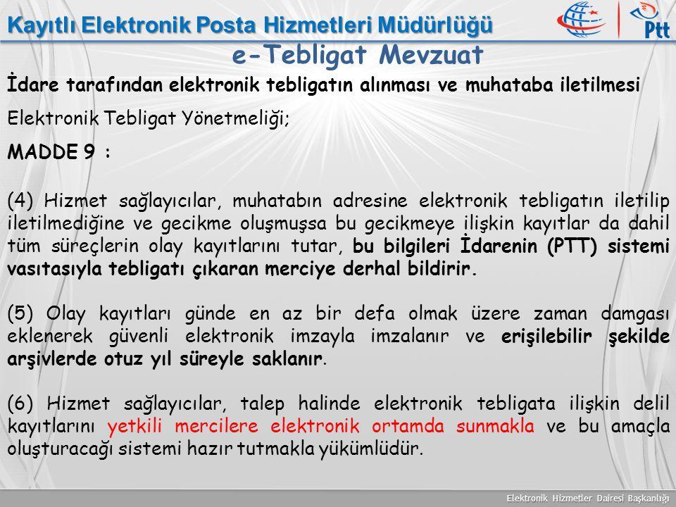 e-Tebligat Mevzuat Kayıtlı Elektronik Posta Hizmetleri Müdürlüğü