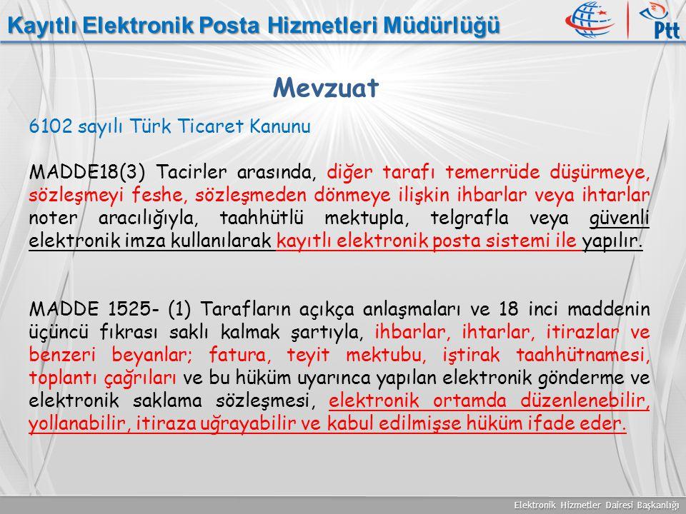 Mevzuat Kayıtlı Elektronik Posta Hizmetleri Müdürlüğü