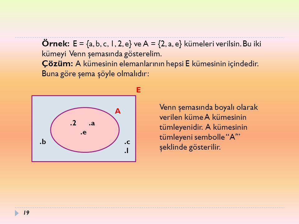 Çözüm: A kümesinin elemanlarının hepsi E kümesinin içindedir.