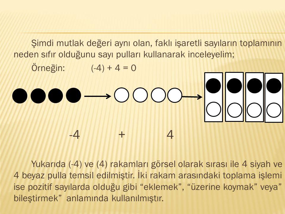 Şimdi mutlak değeri aynı olan, faklı işaretli sayıların toplamının neden sıfır olduğunu sayı pulları kullanarak inceleyelim;