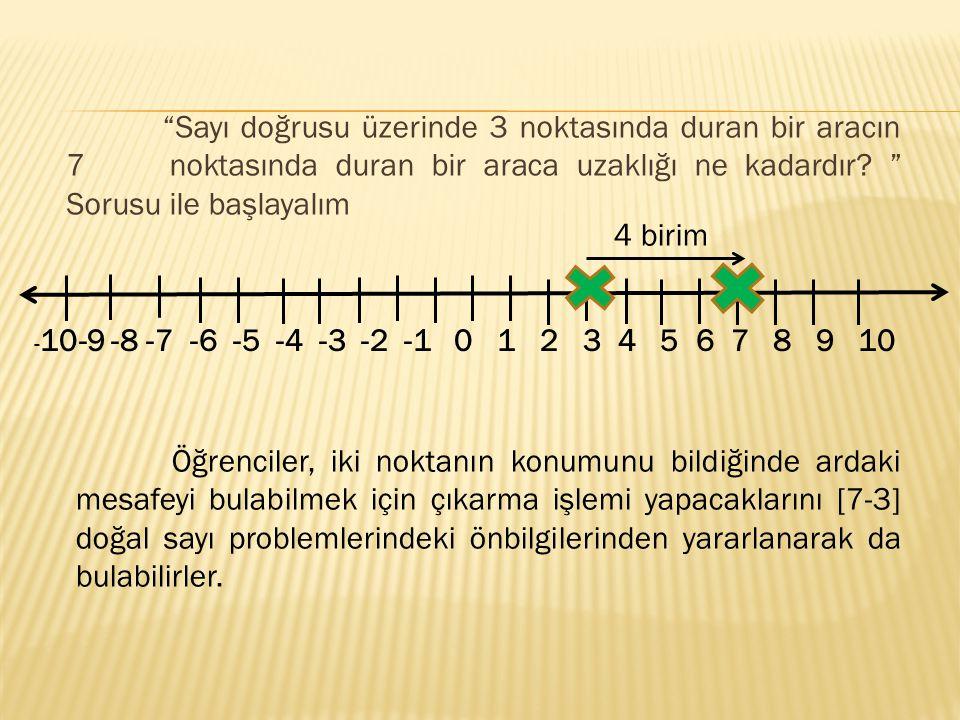 Sayı doğrusu üzerinde 3 noktasında duran bir aracın 7 noktasında duran bir araca uzaklığı ne kadardır Sorusu ile başlayalım