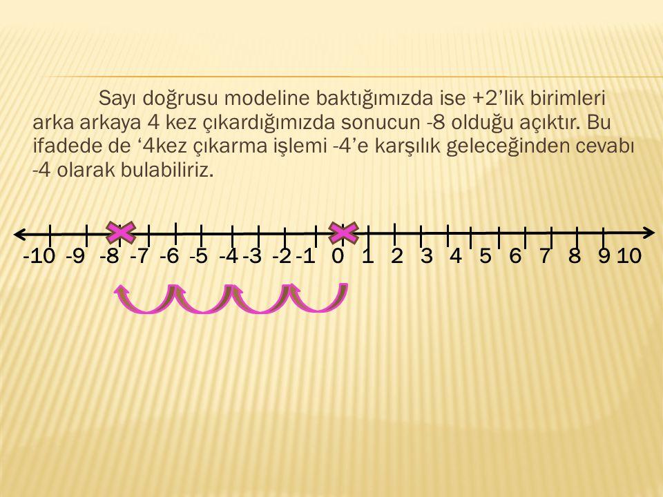 Sayı doğrusu modeline baktığımızda ise +2'lik birimleri arka arkaya 4 kez çıkardığımızda sonucun -8 olduğu açıktır. Bu ifadede de '4kez çıkarma işlemi -4'e karşılık geleceğinden cevabı -4 olarak bulabiliriz.