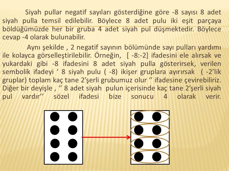 Siyah pullar negatif sayıları gösterdiğine göre -8 sayısı 8 adet siyah pulla temsil edilebilir. Böylece 8 adet pulu iki eşit parçaya böldüğümüzde her bir gruba 4 adet siyah pul düşmektedir. Böylece cevap -4 olarak bulunabilir.
