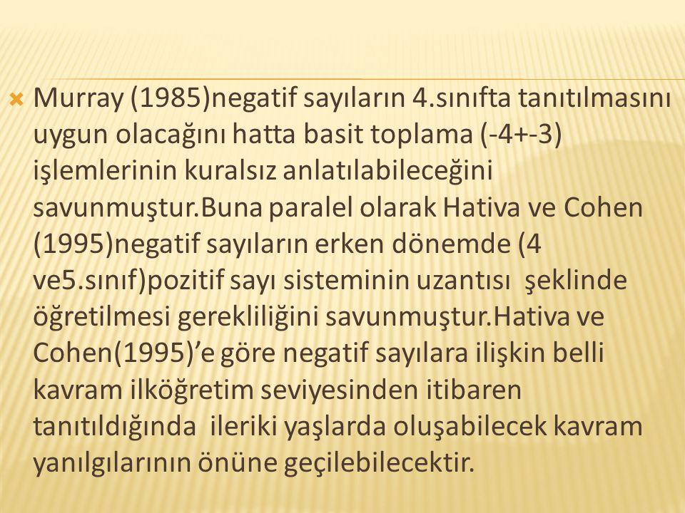 Murray (1985)negatif sayıların 4