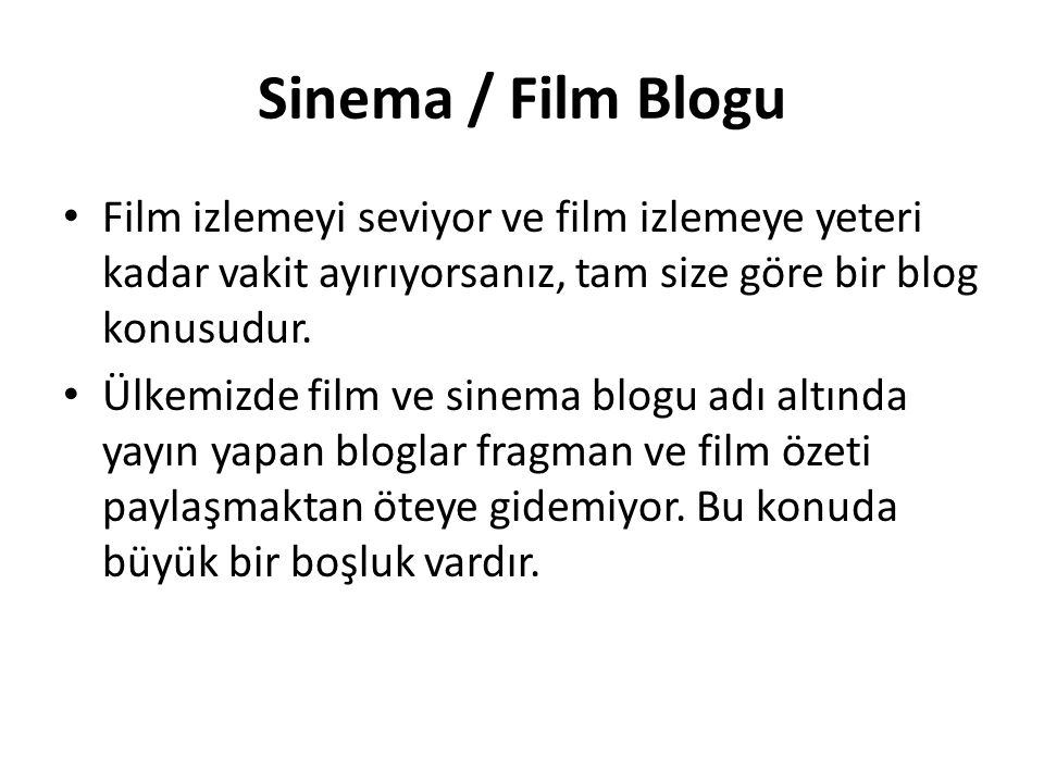 Sinema / Film Blogu Film izlemeyi seviyor ve film izlemeye yeteri kadar vakit ayırıyorsanız, tam size göre bir blog konusudur.