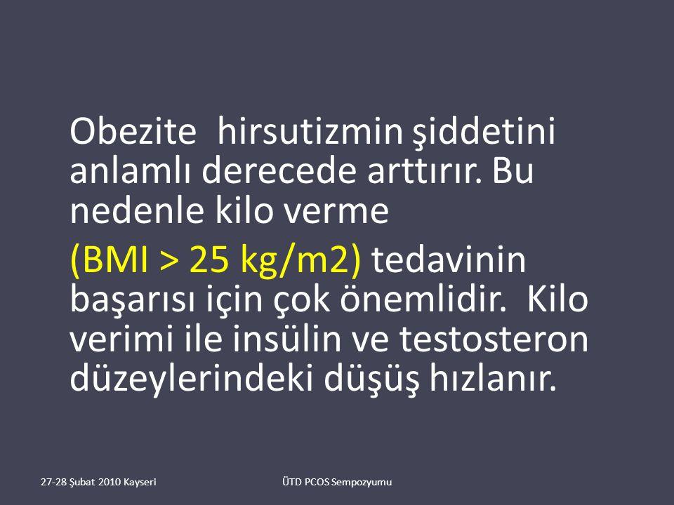 Obezite hirsutizmin şiddetini anlamlı derecede arttırır