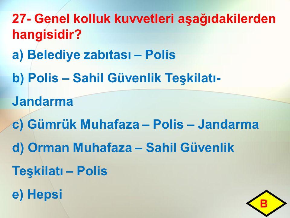 27- Genel kolluk kuvvetleri aşağıdakilerden hangisidir