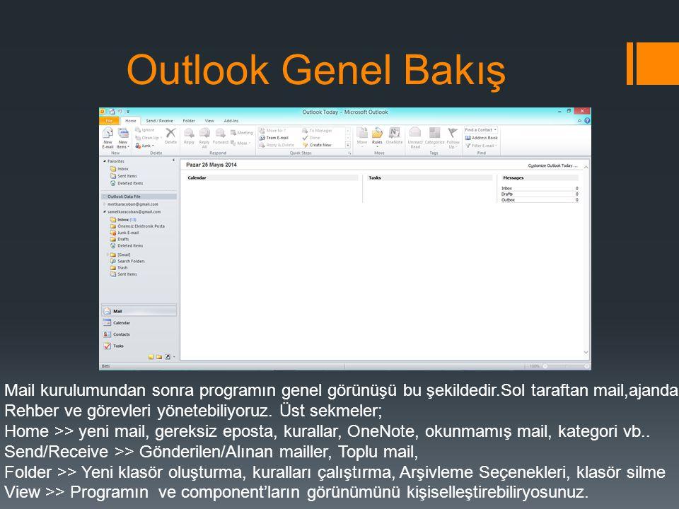 Outlook Genel Bakış Mail kurulumundan sonra programın genel görünüşü bu şekildedir.Sol taraftan mail,ajanda.