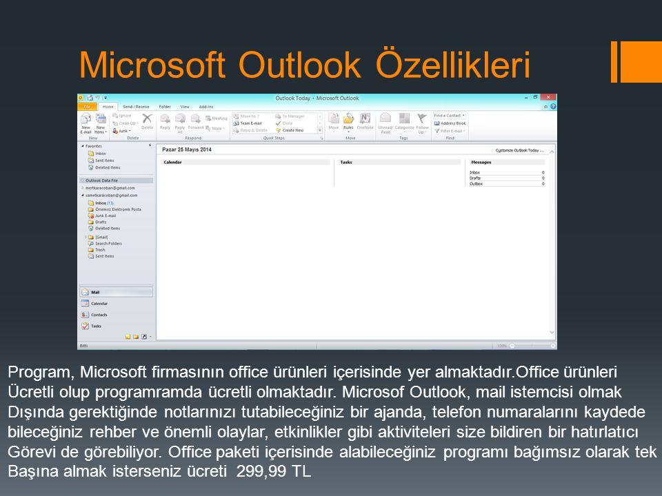 Microsoft Outlook Özellikleri