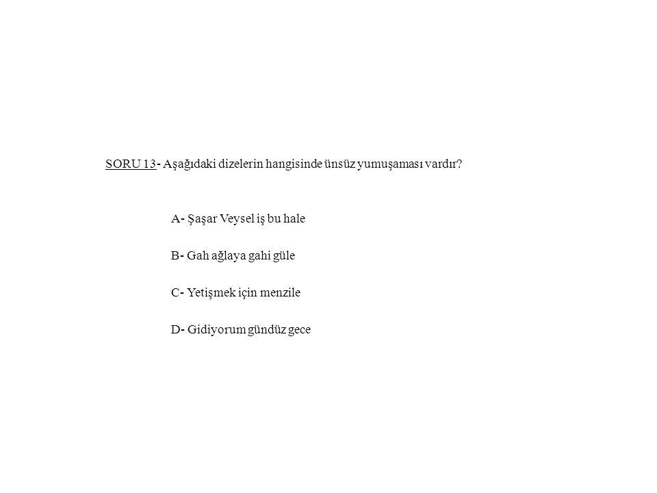 SORU 13- Aşağıdaki dizelerin hangisinde ünsüz yumuşaması vardır