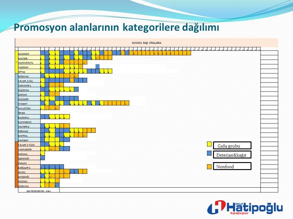 Promosyon alanlarının kategorilere dağılımı