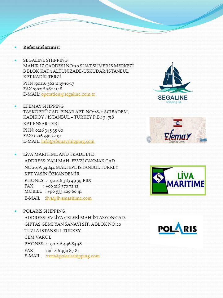 Referanslarımız: SEGALINE SHIPPING MAHIR IZ CADDESI NO:30 SUAT SUMER IS MERKEZI B BLOK KAT:1 ALTUNIZADE-USKUDAR/ISTANBUL KPT KADİR TERZİ.