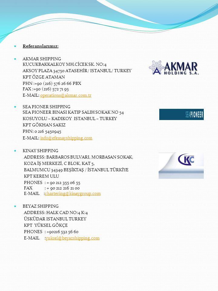 Referanslarımız: AKMAR SHIPPING KUCUKBAKKALKOY MH.CİCEK SK. NO:4. AKSOY PLAZA 34750 ATASEHİR/ ISTANBUL/ TURKEY.