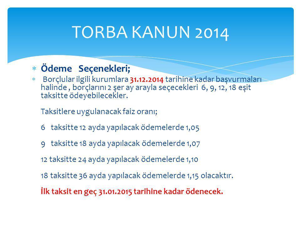 TORBA KANUN 2014 Ödeme Seçenekleri;
