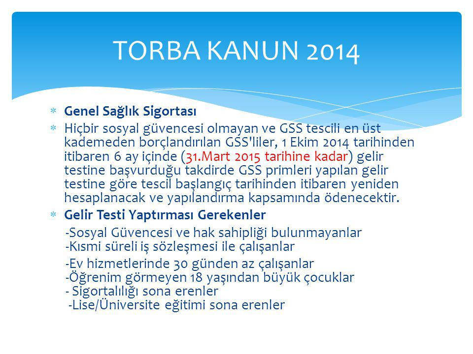 TORBA KANUN 2014 Genel Sağlık Sigortası