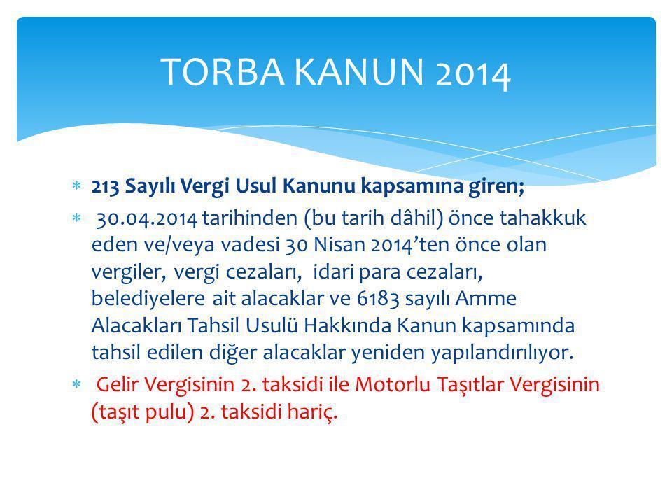 TORBA KANUN 2014 213 Sayılı Vergi Usul Kanunu kapsamına giren;