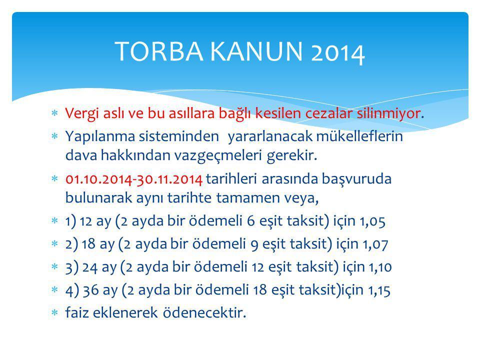 TORBA KANUN 2014 Vergi aslı ve bu asıllara bağlı kesilen cezalar silinmiyor.