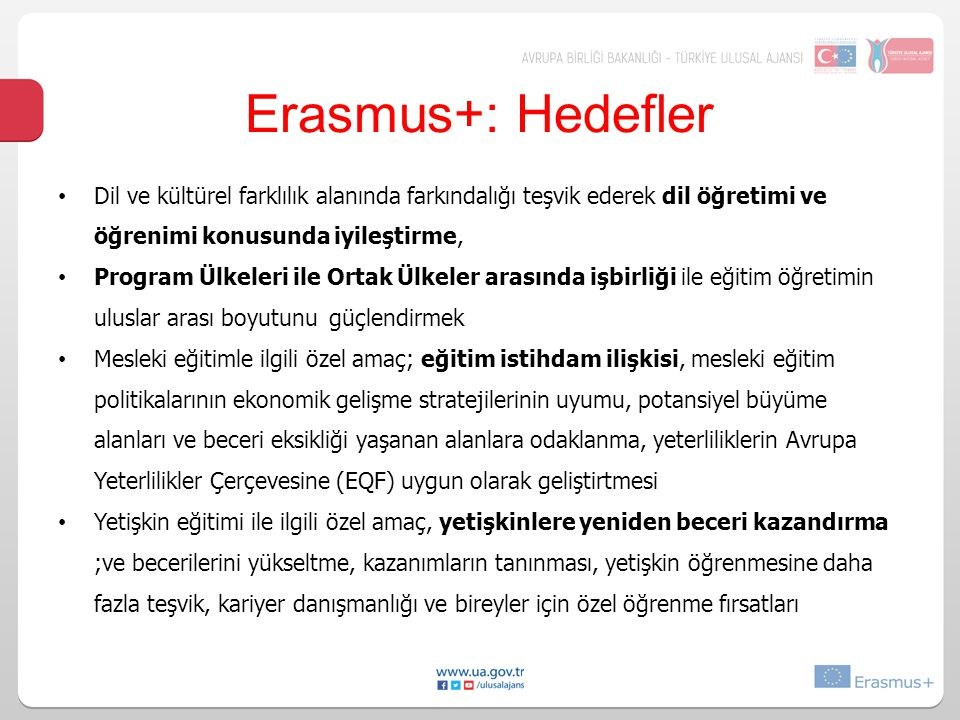 Erasmus+: Hedefler Dil ve kültürel farklılık alanında farkındalığı teşvik ederek dil öğretimi ve öğrenimi konusunda iyileştirme,