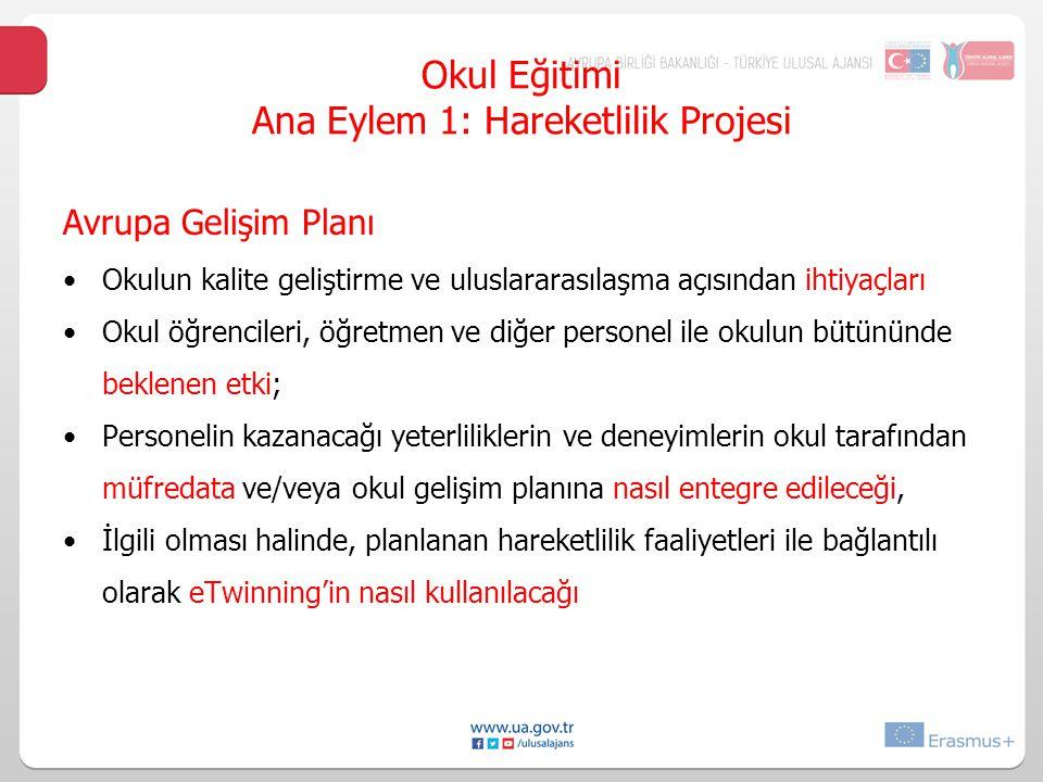Okul Eğitimi Ana Eylem 1: Hareketlilik Projesi