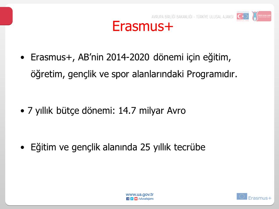 Erasmus+ Erasmus+, AB'nin 2014-2020 dönemi için eğitim, öğretim, gençlik ve spor alanlarındaki Programıdır.