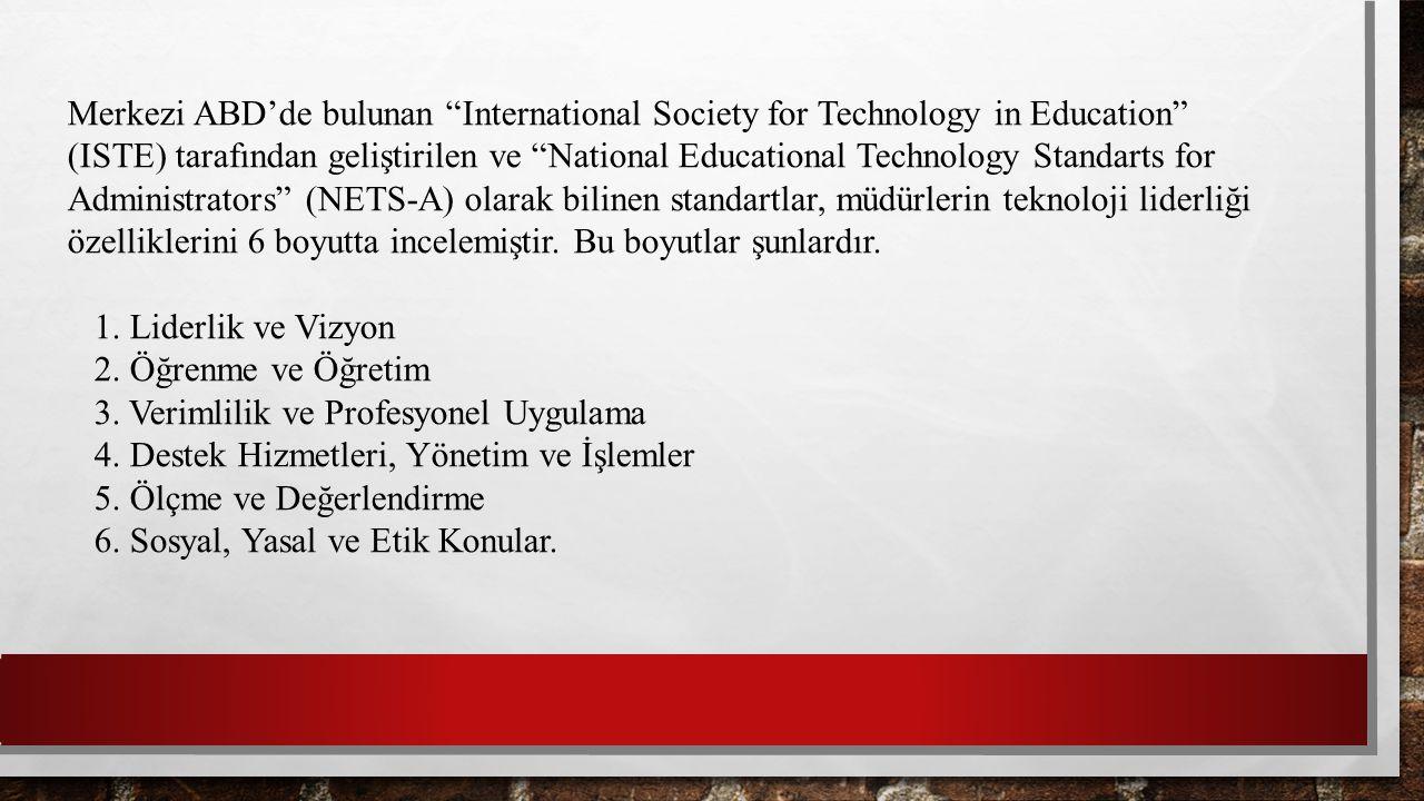 Merkezi ABD'de bulunan International Society for Technology in Education (ISTE) tarafından geliştirilen ve National Educational Technology Standarts for Administrators (NETS-A) olarak bilinen standartlar, müdürlerin teknoloji liderliği özelliklerini 6 boyutta incelemiştir. Bu boyutlar şunlardır.