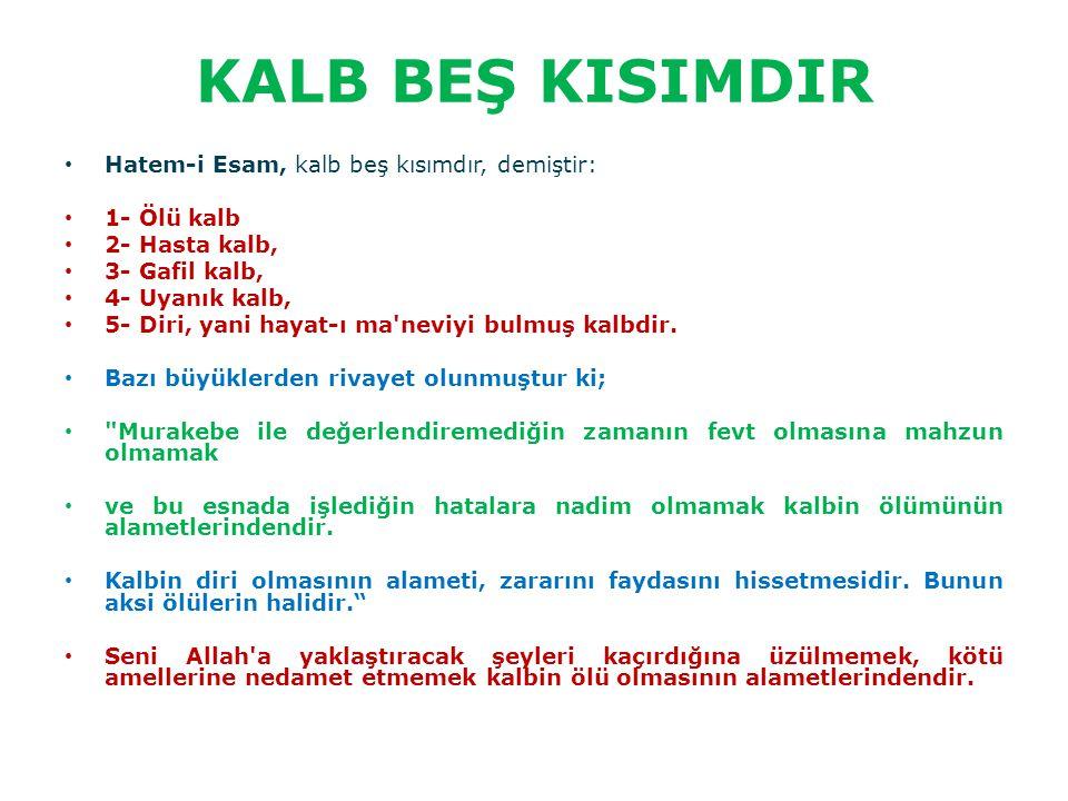 KALB BEŞ KISIMDIR Hatem-i Esam, kalb beş kısımdır, demiştir: