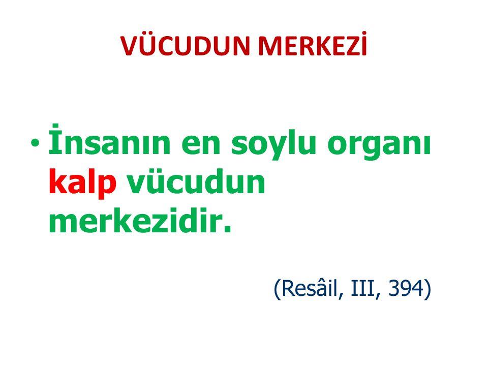 İnsanın en soylu organı kalp vücudun merkezidir.