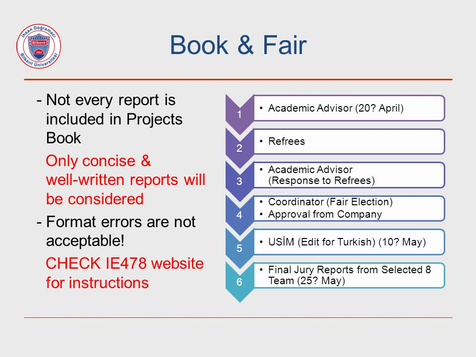 Book & Fair - Not every report is included in Projects Book