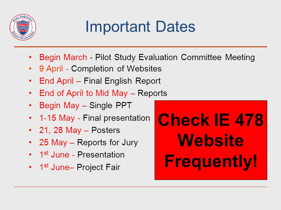 Check IE 478 Website Frequently!