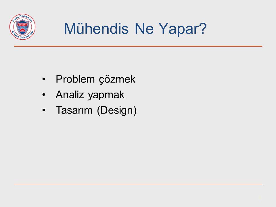 Mühendis Ne Yapar Problem çözmek Analiz yapmak Tasarım (Design) 4 4