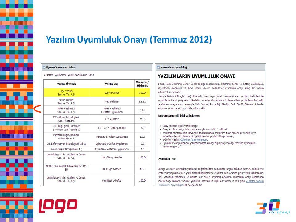 Yazılım Uyumluluk Onayı (Temmuz 2012)