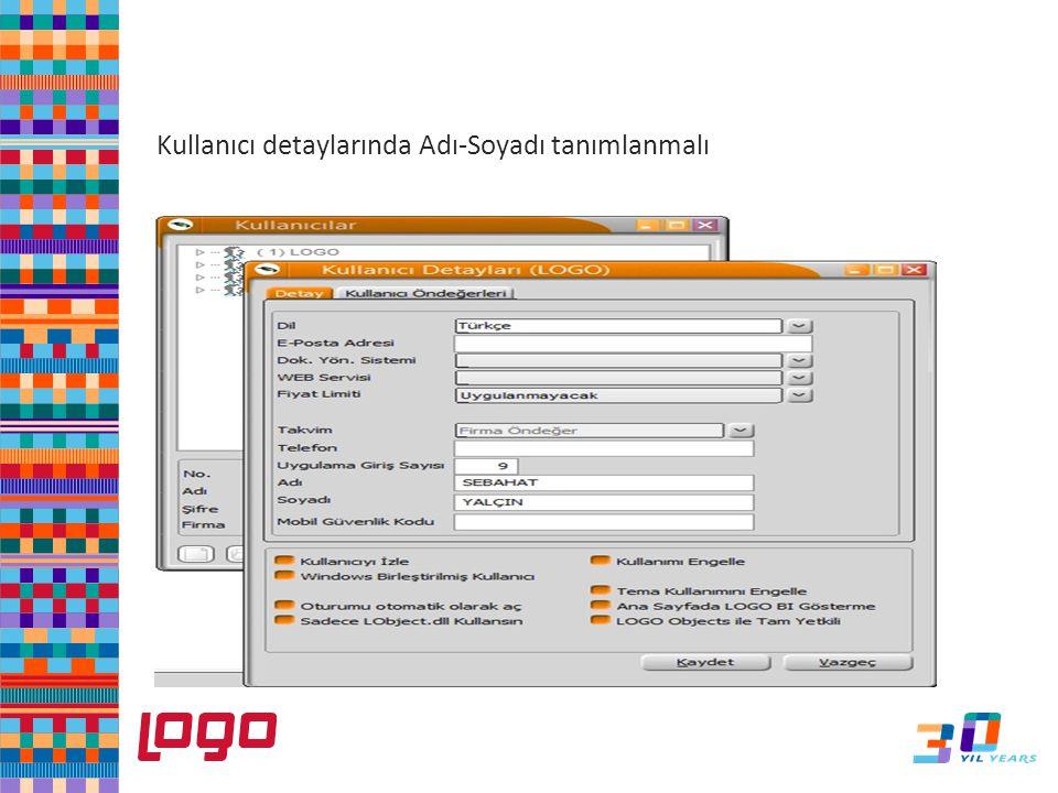 e-Defter Kullanıcı detaylarında Adı-Soyadı tanımlanmalı