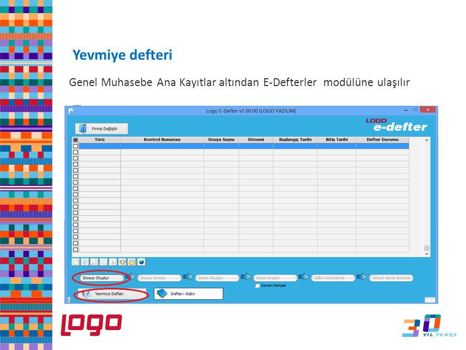 e-Defter Yevmiye defteri