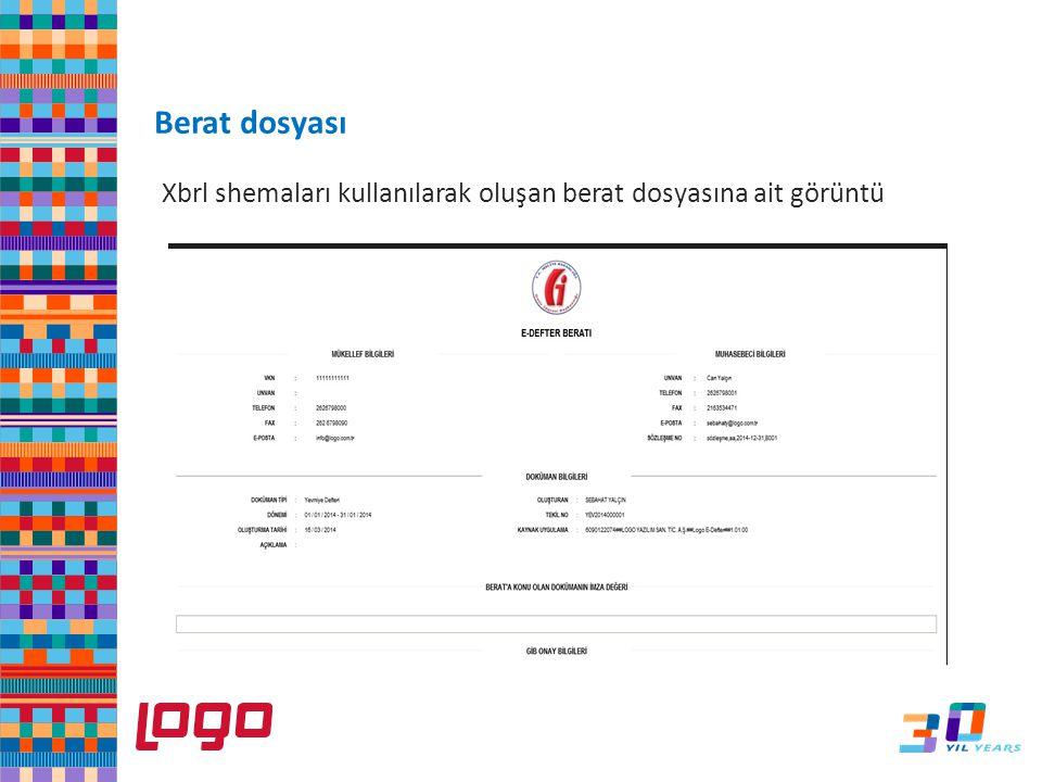 e-Dfter Berat dosyası Xbrl shemaları kullanılarak oluşan berat dosyasına ait görüntü