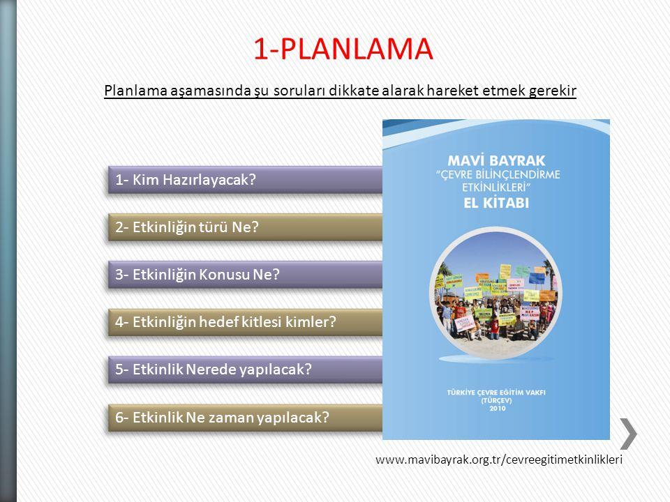 1-PLANLAMA Planlama aşamasında şu soruları dikkate alarak hareket etmek gerekir. 1- Kim Hazırlayacak