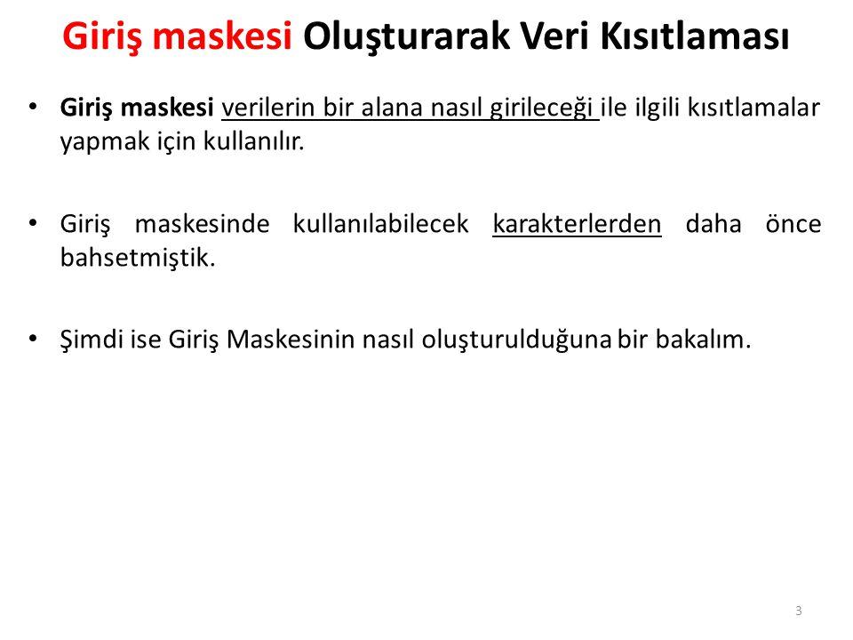 Giriş maskesi Oluşturarak Veri Kısıtlaması