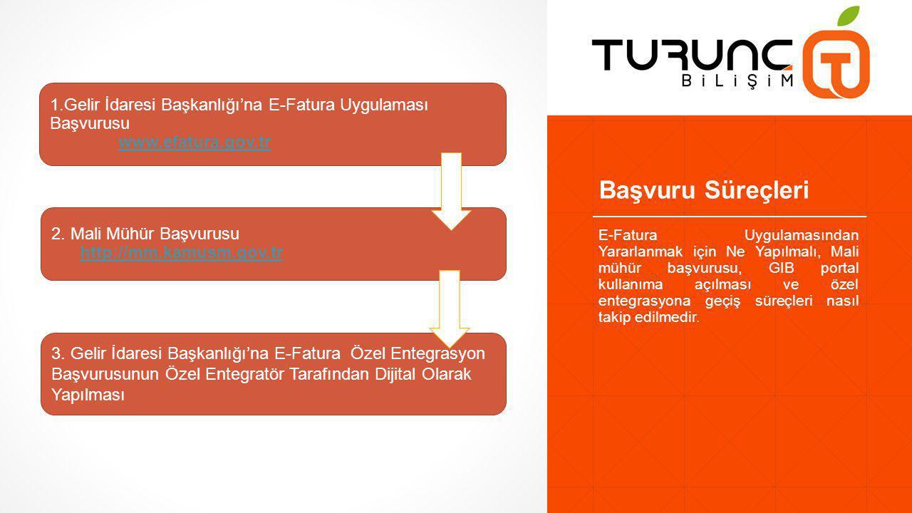 Başvuru Süreçleri 1.Gelir İdaresi Başkanlığı'na E-Fatura Uygulaması Başvurusu. www.efatura.gov.tr.