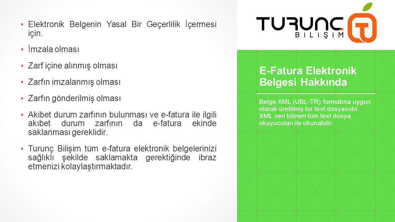 E-Fatura Elektronik Belgesi Hakkında