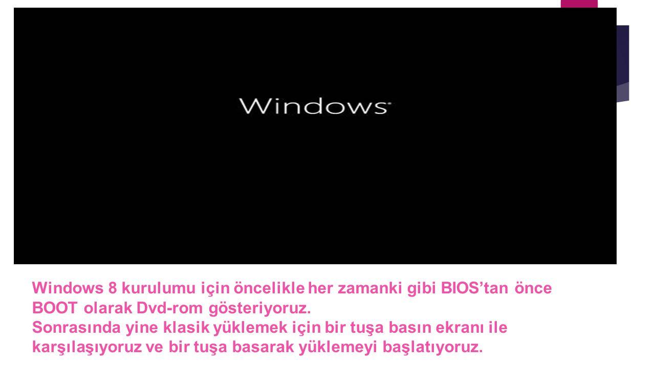 Windows 8 kurulumu için öncelikle her zamanki gibi BIOS'tan önce BOOT olarak Dvd-rom gösteriyoruz.