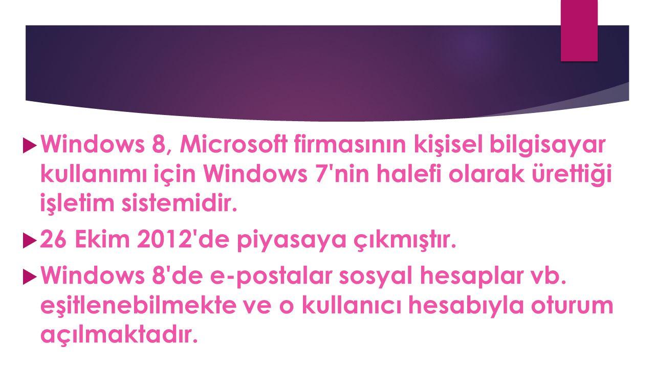 Windows 8, Microsoft firmasının kişisel bilgisayar kullanımı için Windows 7 nin halefi olarak ürettiği işletim sistemidir.
