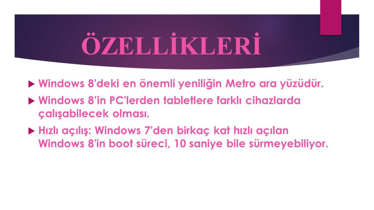 ÖZELLİKLERİ Windows 8 deki en önemli yeniliğin Metro ara yüzüdür.