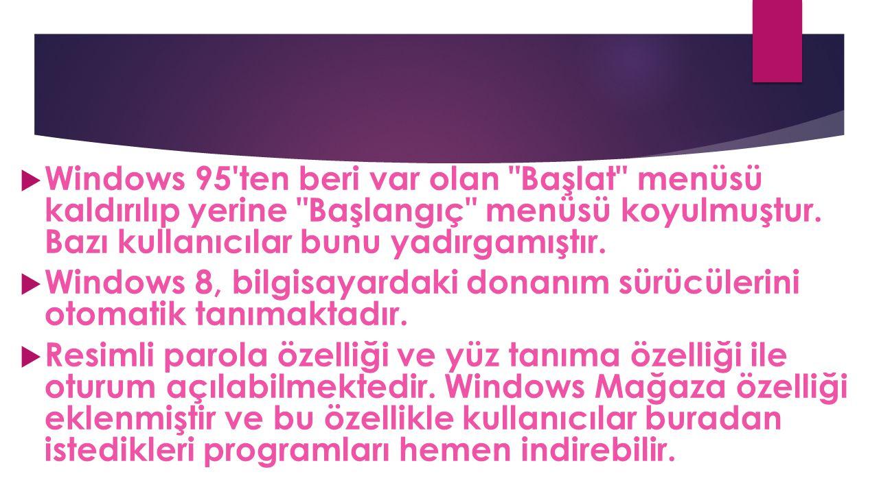 Windows 95 ten beri var olan Başlat menüsü kaldırılıp yerine Başlangıç menüsü koyulmuştur. Bazı kullanıcılar bunu yadırgamıştır.