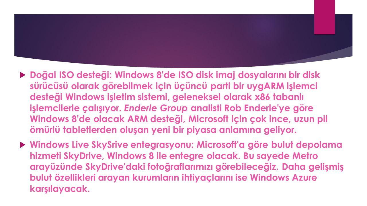 Doğal ISO desteği: Windows 8 de ISO disk imaj dosyalarını bir disk sürücüsü olarak görebilmek için üçüncü parti bir uygARM işlemci desteği Windows işletim sistemi, geleneksel olarak x86 tabanlı işlemcilerle çalışıyor. Enderle Group analisti Rob Enderle ye göre Windows 8 de olacak ARM desteği, Microsoft için çok ince, uzun pil ömürlü tabletlerden oluşan yeni bir piyasa anlamına geliyor.