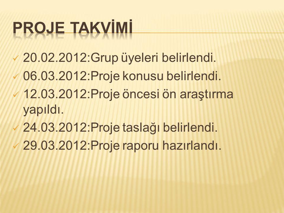 PROJE TAKVİMİ 20.02.2012:Grup üyeleri belirlendi.