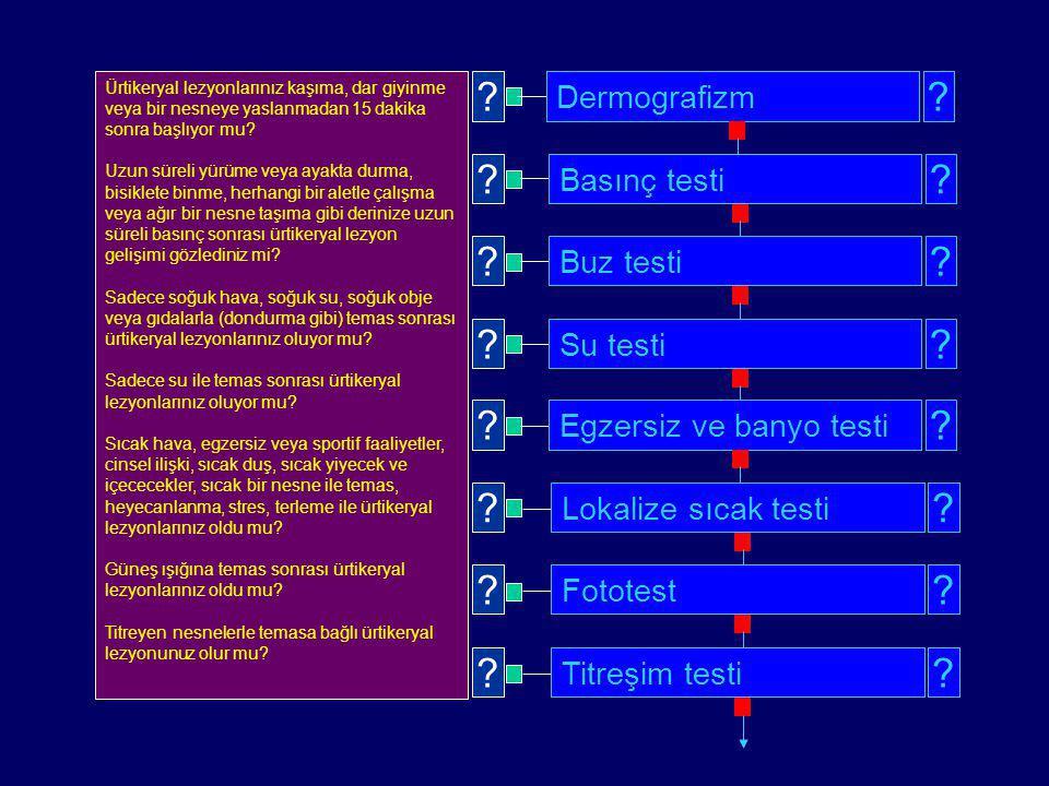 Dermografizm Basınç testi Buz testi Su testi Egzersiz ve banyo testi