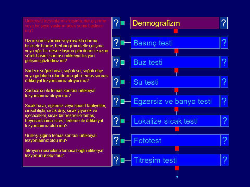 Dermografizm Basınç testi Buz testi
