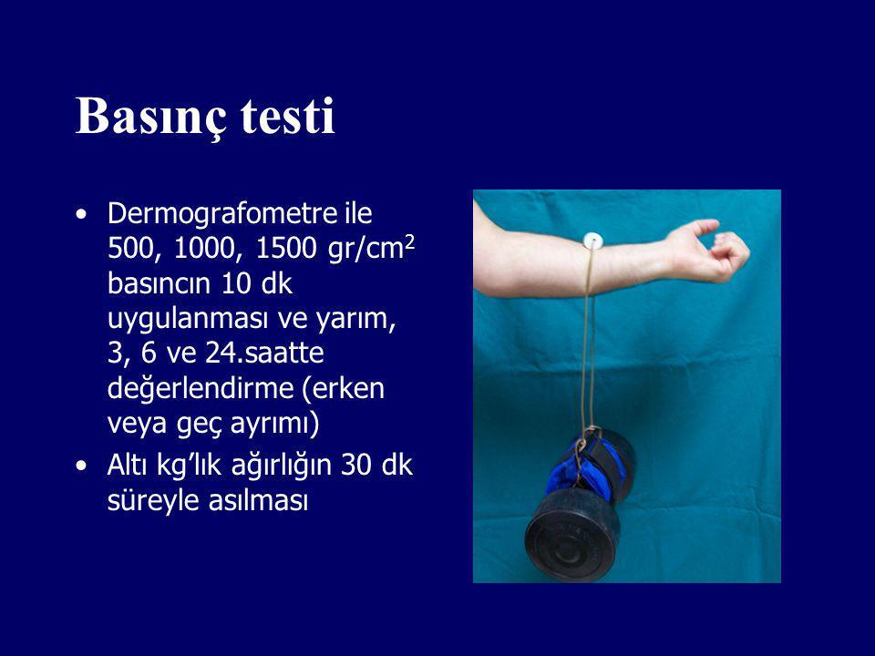 Basınç testi Dermografometre ile 500, 1000, 1500 gr/cm2 basıncın 10 dk uygulanması ve yarım, 3, 6 ve 24.saatte değerlendirme (erken veya geç ayrımı)