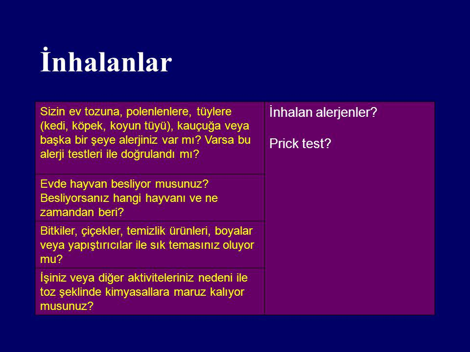 İnhalanlar İnhalan alerjenler Prick test