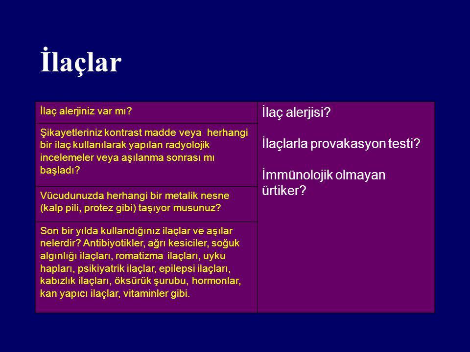 İlaçlar İlaç alerjisi İlaçlarla provakasyon testi